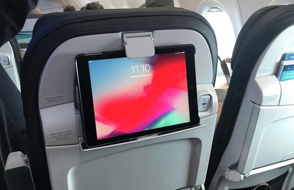 On Alaska Airlines, it's BYOD- bring your own device for seatback entertainment. Airline provides clipping devices for phones and tablets