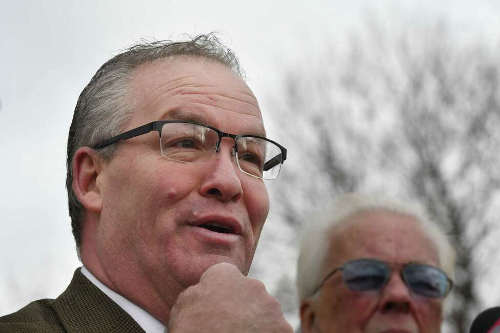 Cohoes Mayor Shawn Morse announces his plan to run for a second term on Wednesday, Jan. 16, 2019, at West End Park in Cohoes, N.Y. The embattled mayor is facing allegations of physical abuse and is under FBI investigation. (Will Waldron/Times Union)