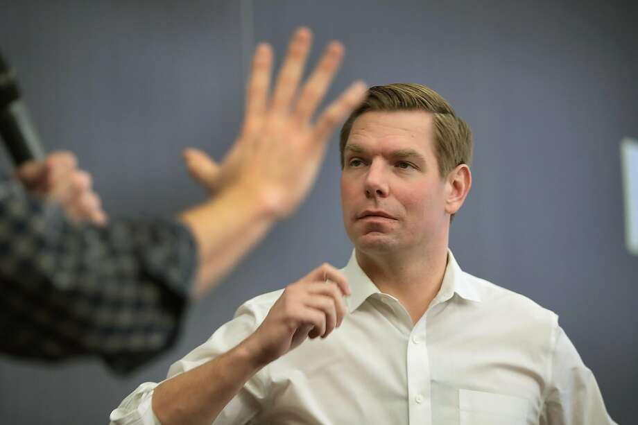 Congressman Eric Swalwell (D-CA) meets guests during an event at the Iowa City Public Library on February 18, 2019 in Iowa City, Iowa. Swalwell has been making stops around Iowa talking to voters as he mulls a decision to seek the 2020 Democratic nomination for president.  Photo: Scott Olson / Getty Images
