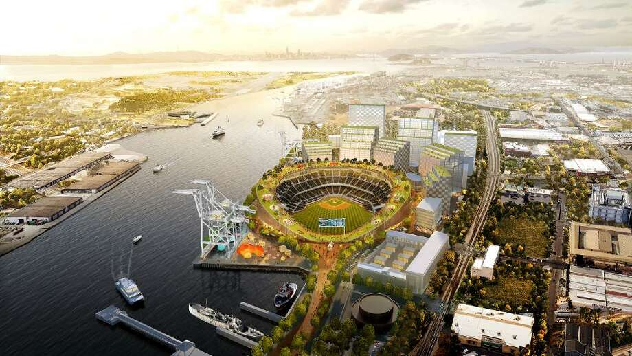 NOW: The Oakland A's slightly revised the design of their proposed Howard Terminal stadium from a diamond shape to a circular design. Photo:  Bjarke Ingels Group