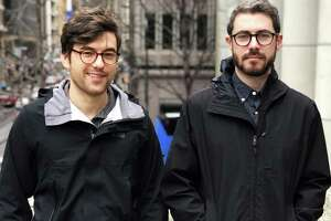 Ben Waldo, left, and Dan Affleck, architects with San Francisco-based SWA, who won the contract to design the Sandy Hook monument.