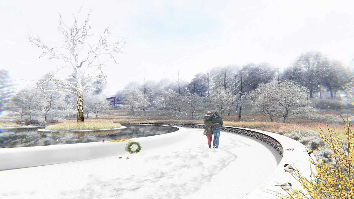 """Artist's rendering of """"The Clearing"""" in mid winter."""