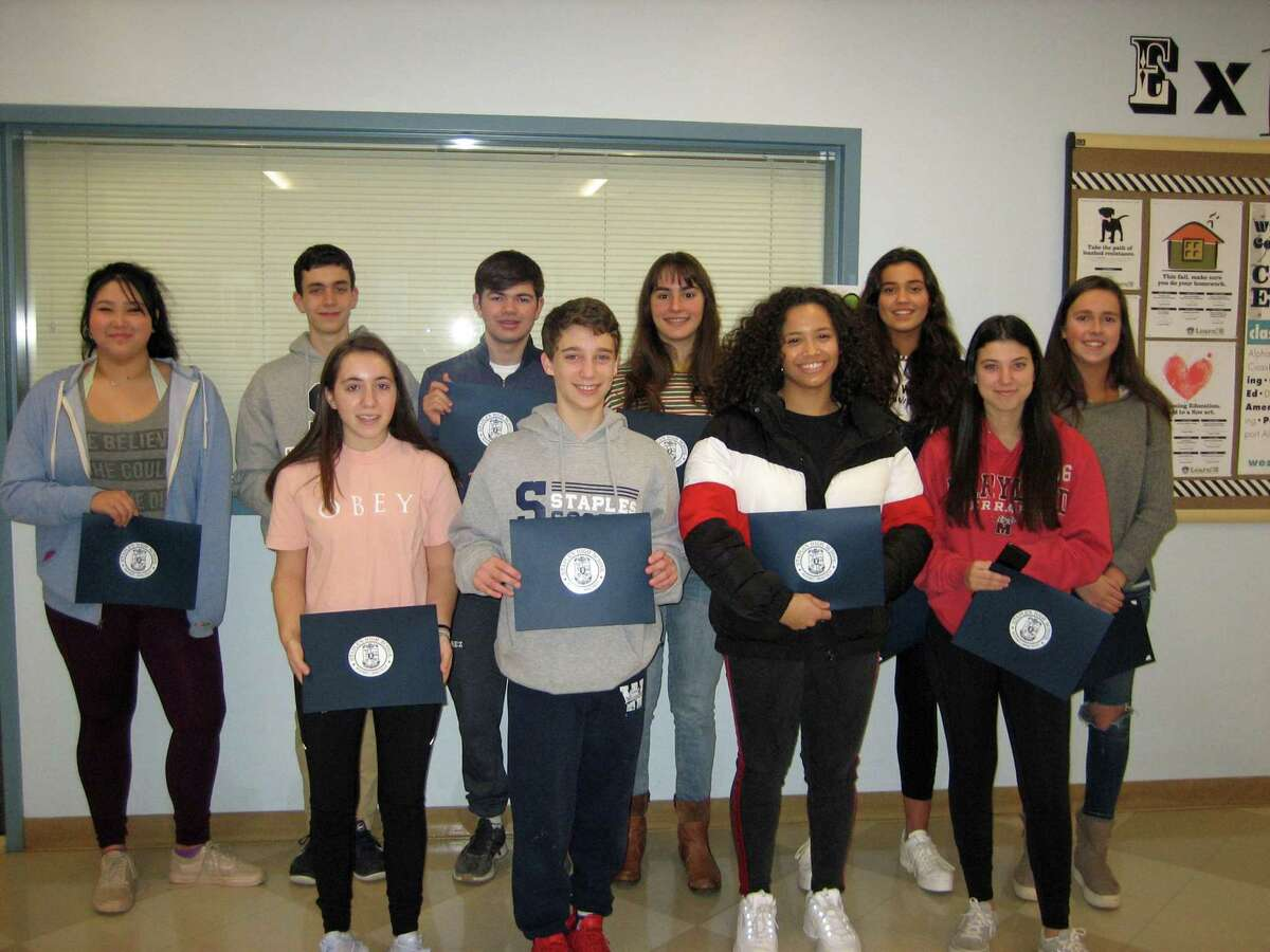 Staples High School students of the month for February are (back row) Catherine Cunningham, Owen Dolan, Michael Suarez, Dilara Turut, Hannah Eldh, Grace Roseme, (front row) Daria Maya, Eli Kogan, Taylor Symonette and Sammy Feinstein.Missing from the picture are Samantha Webster, Jeffrey Pressman and Max Shutze.