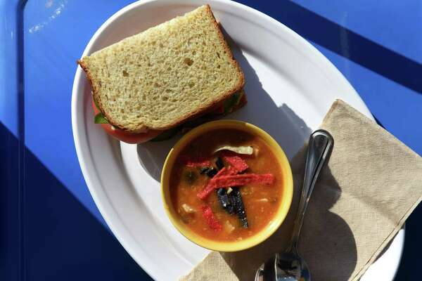 Happy hummus sandwich, half, and cup of soup from Puzzles Bakery & Cafe on Monday, Jan. 28, 2019, in Schenectady, N.Y. (Will Waldron/Times Union)