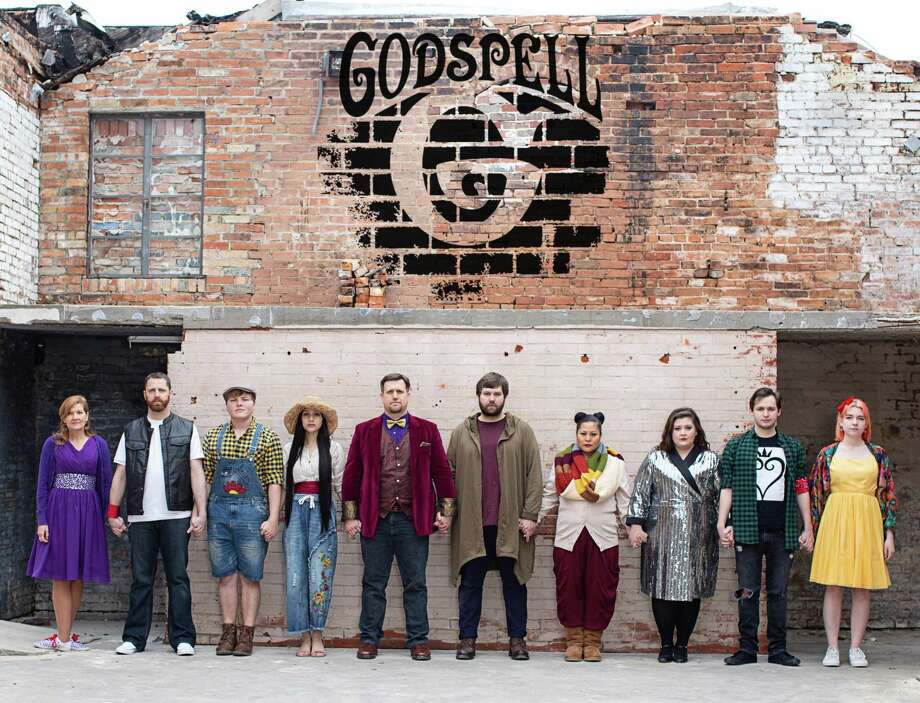 "The cast of The Players Theatre Company's ""Godspell"" which is at the Owen Theatre March 8-24. Pictured from left are Cindy Siple, Christopher St. James, Alec Patton, Cahlyn Velasco, Stephen Driver, Hunter Green, Angelie De Los Santos, Hannah Weaver, Ethen Garcia and Lauren Upshall. Photo: Photo By DigiSmiles Photography"