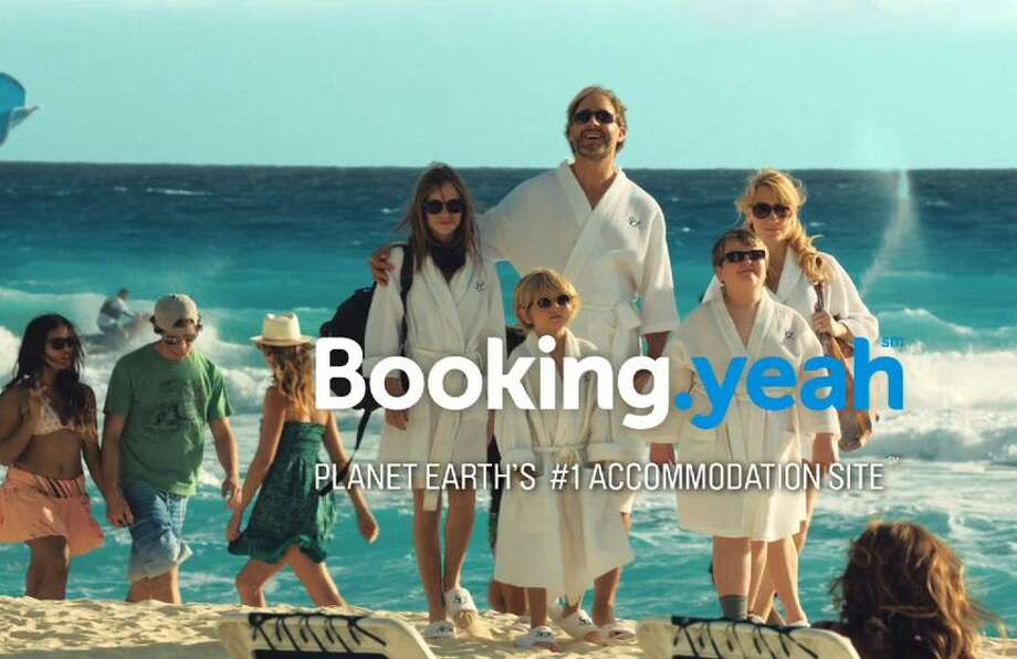 "An image from the ""Booking.yeah"" ad campaign of Norwalk, Conn.-based Booking Holdings, which reported $4 billion in profits in 2018 amid a big boost in reservations for alternative accommodations in private properties. (Screenshot via YouTube)"