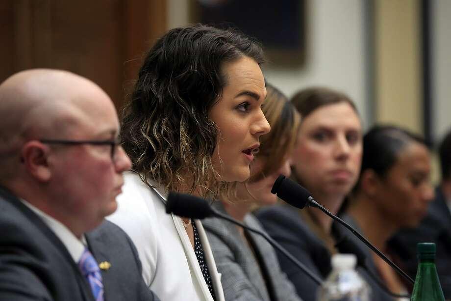 Capt. Alivia Stehlik testifies alongside other transgender military members Wednesday before a House subcommittee. Photo: Manuel Balce Ceneta / Associated Press