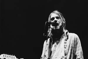 Kurt Cobain performs with Nirvana in Modena, Italy, on Feb. 21, 1994, just days before the band's last show. (Photo by Raffaella Cavalieri/Redferns/Getty Images)