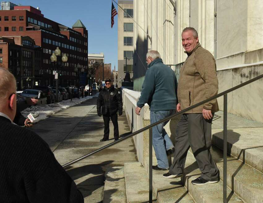 Cohoes Mayor Shawn Morse, right, leaves the Federal Courthouse after a grand jury indicted him on seven charges related to his alleged misuse of political campaign funds on Thursday, Feb. 28, 2019 in Albany, N.Y. (Lori Van Buren/Times Union)