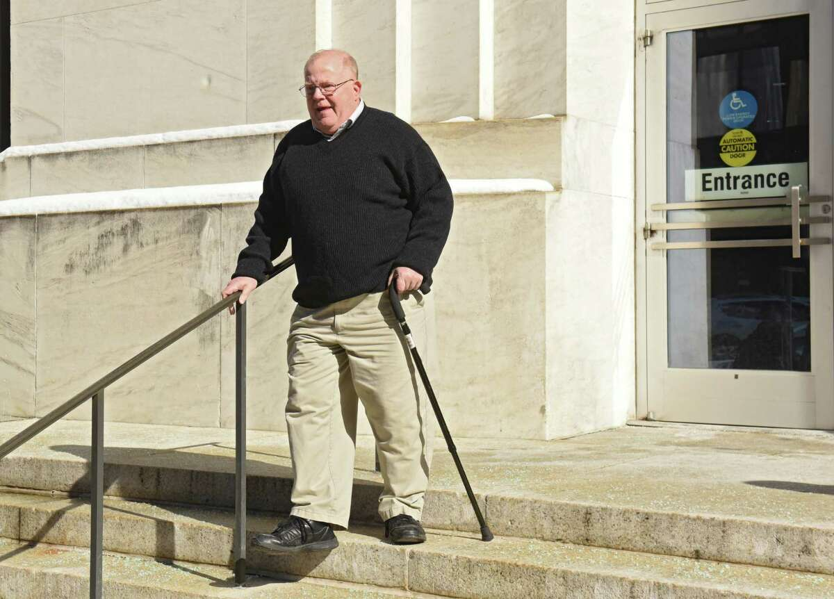 Tom Scarff, campaign manager for Cohoes Mayor Shawn Morse, leaves the Federal Courthouse after a grand jury indicted Morse on seven charges related to his alleged misuse of political campaign funds on Thursday, Feb. 28, 2019 in Albany, N.Y. (Lori Van Buren/Times Union)