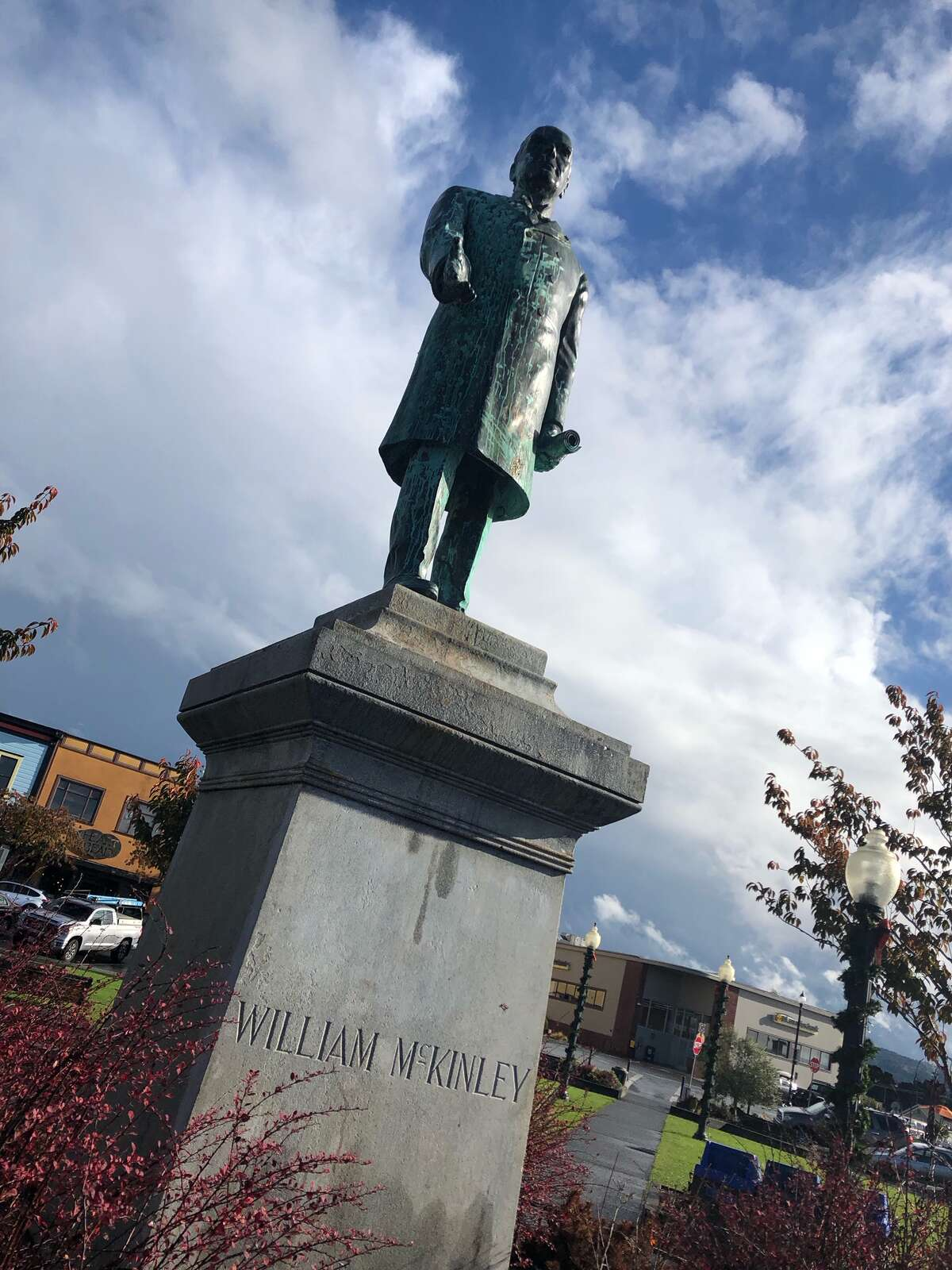 This statue of William McKinley survived the 1906 earthquake and fire in San Francisco before it was moved to Arcata in Humboldt County.