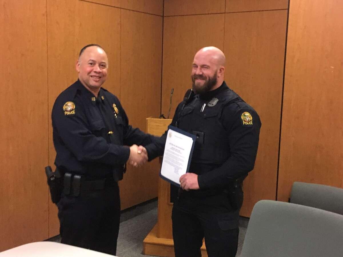 Police Capt. Kraig Gray and Justin Quagliani