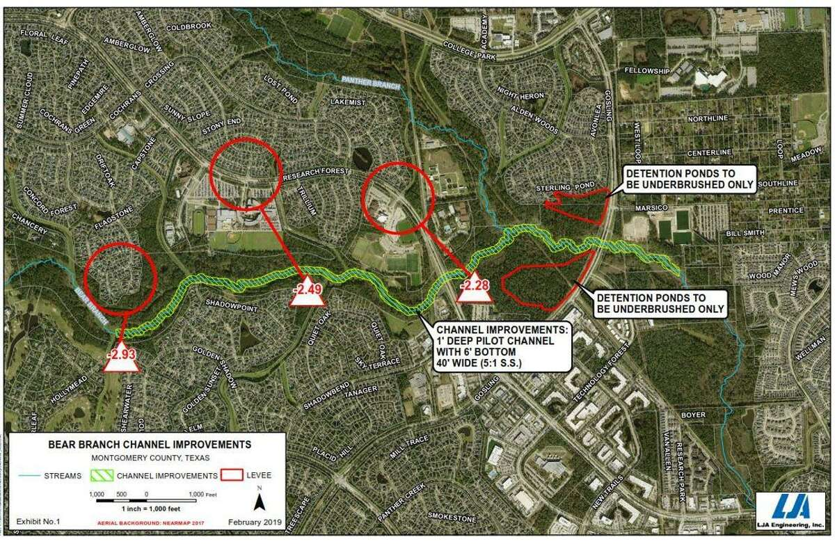 This project map from LJA Engineering shows the Bear Branch Creek flood mitigation proposal.