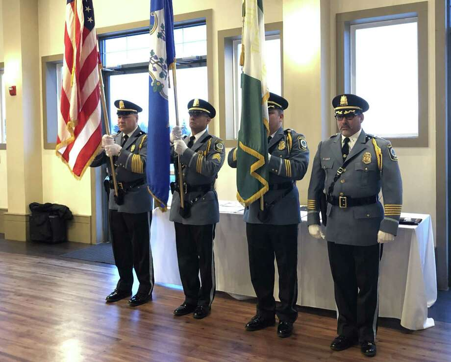 The Stratford Police Department Honor Guard presents the colors at the department's awards ceremony Feb. 27, 2019. Photo: Ethan Fry / Hearst Connecticut Media