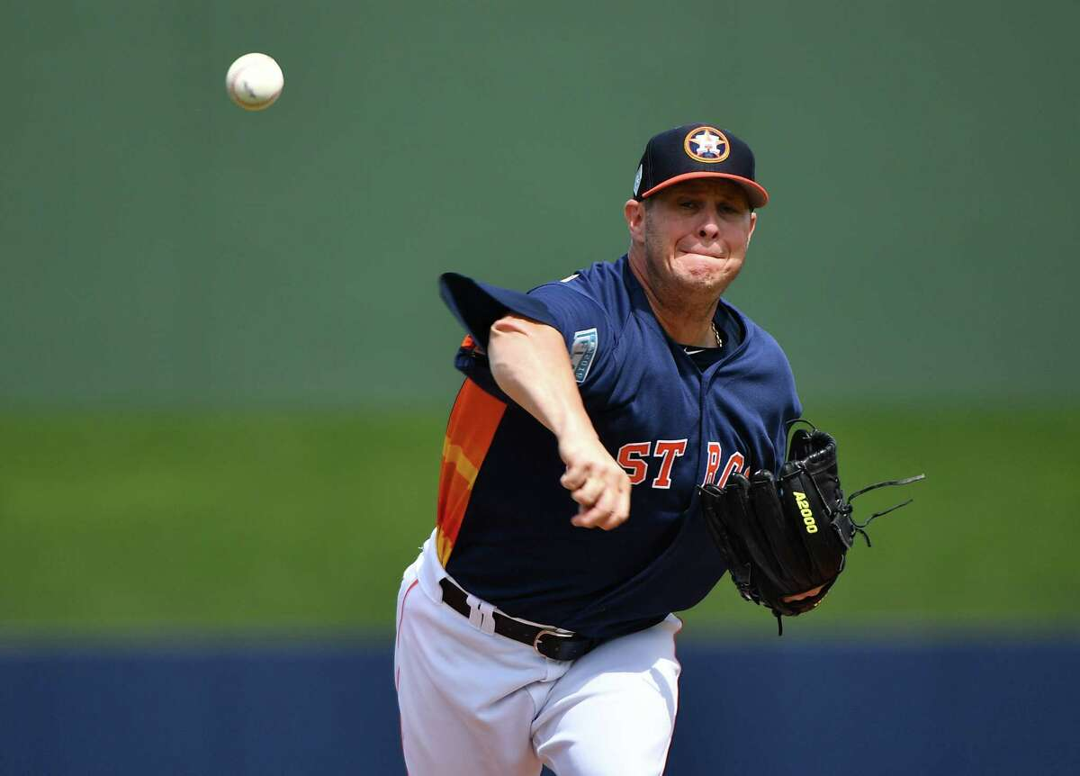WEST PALM BEACH, FL - FEBRUARY 28: Brad Peacock #41 of the Houston Astros pitches in the first inning against the Miami Marlins at The Ballpark of the Palm Beaches on February 28, 2019 in West Palm Beach, Florida.