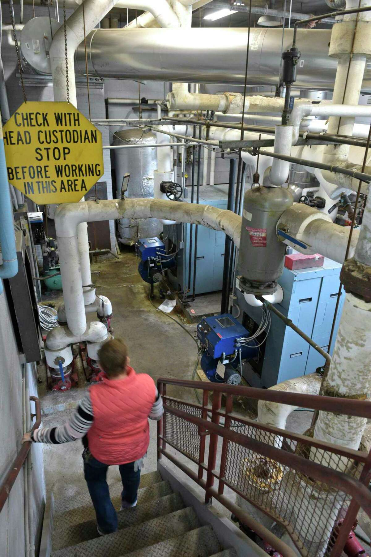 The boiler room in Center Elementary School, Brookfield, Conn, Wednesday, February 27, 2019. The 2009 units presently used replaced the units from 1956.