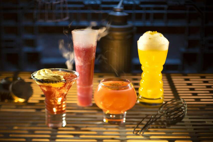Click ahead to see menu items, shops, and attractions at Disneyland's Star Wars: Galaxy's Edge Innovative and creative drinks from around the galaxy will be available at Star Wars: Galaxy's Edge when it opens in summer 2019 at Disneyland Park in Anaheim, Calif. From left to right, alcoholic beverages: The Outer Rim, Bespin Fizz, Yub Nub, and Fuzzy Tauntaun can be found at Oga's Cantina inside Star Wars: Galaxy's Edge.