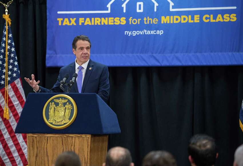 Gov. Andrew Cuomo speaks during a press conference where he pushed for a permanent 2 percent property tax cap on Thursday, Feb. 28, 2019, in Cheektowaga, N.Y. (Office of the Governor)