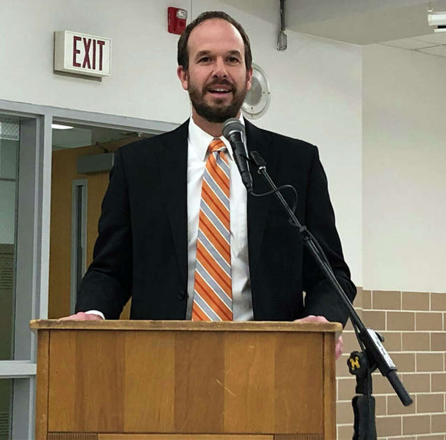 Jason Henderson, pictured, current assistant superintendent of Triad Community Unit School District 2, Thursday at a special meeting was named as the new Edwardsville District 7 Superintendent. Photo: Julia Biggs | The Intelligencer
