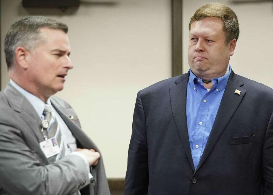 President Josh Flynn, left, and board member, Mike Wolfe, right, are shown at the Harris County Dept. of Education board meeting Wednesday, Feb. 27, 2019, in Houston. Photo: Melissa Phillip, Houston Chronicle / Staff Photographer / © 2019 Houston Chronicle