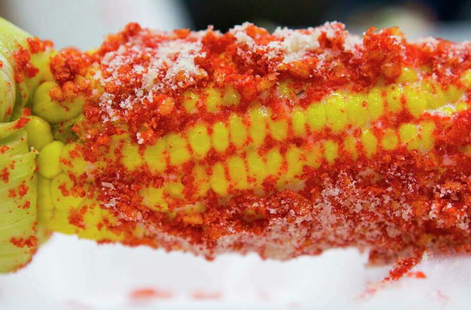 Hot Cheetos Cheese Roasted Corn from the Corn Shack RCS Carnival during the judging of the Gold Buckle Foodie Awards. Photo: Mark Mulligan, Staff Photographer / © 2019 Mark Mulligan / Houston Chronicle
