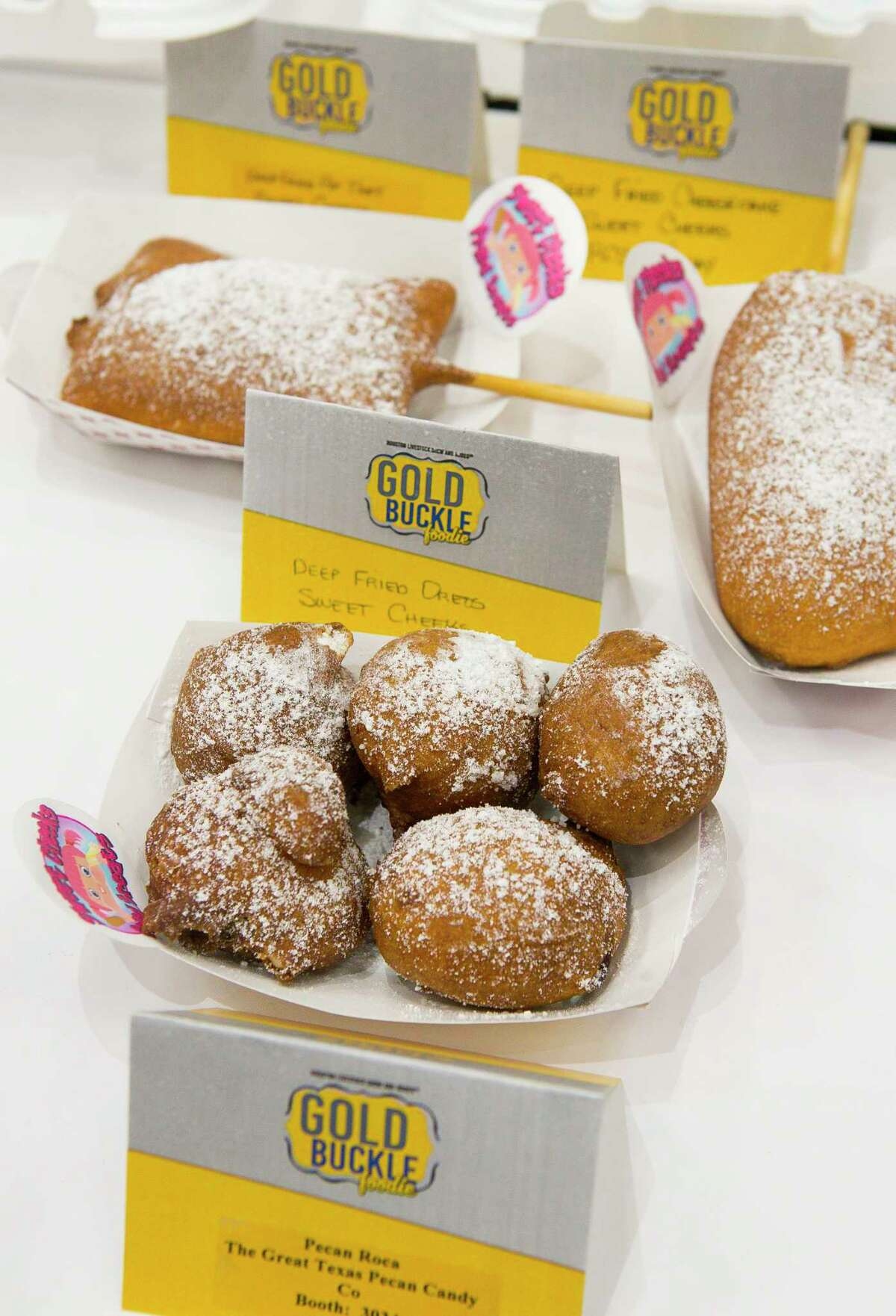 Deep Fried Oreos from Sweet Cheeks RCS Carnival during the judging of the Gold Buckle Foodie Awards at the Houston Livestock Show and Rodeo in NRG Center, Thursday, Feb. 28, 2019. The annual contest pits fair foods available at the carnival against each other in several categories for local judges.