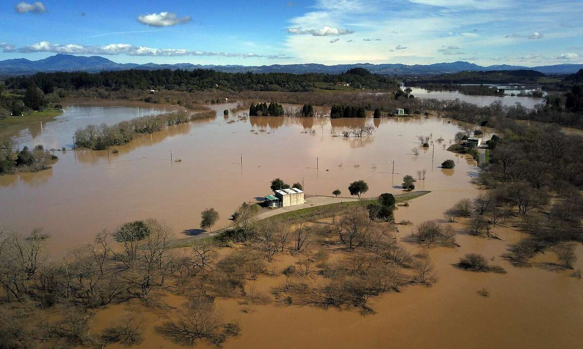 The flooded farmland near the Russian River near River Road in Forestville, Calif., on Thursday, February 28, 2019. The area along the Russian River sustained heavy flooding after an atmospheric river dumped almost 20 inches of rain in two days.