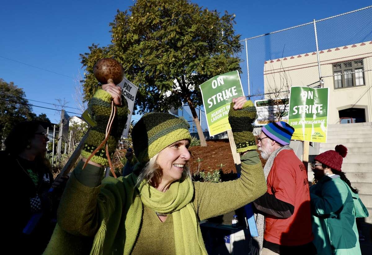 Karin Morris, a second grade teacher at Melrose Leadership Academy, participates in the Oakland Teachers Strike outside of her school in Oakland, Calif., on Thursday, February 21, 2019.