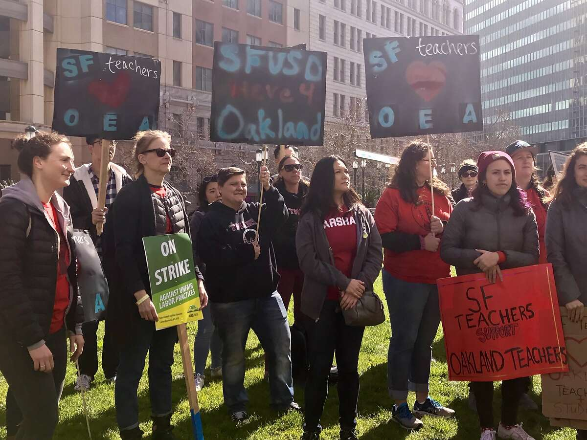 Several hundred Oakland educators, joined in solidarity by teachers from San Francisco, San Lorenzo, Albany and Berkeley marched from Frank Ogawa Plaza in Oakland to a state building in downtown Oakland where school district and union officials were negotiating on Thursday, Feb. 28, 2019.