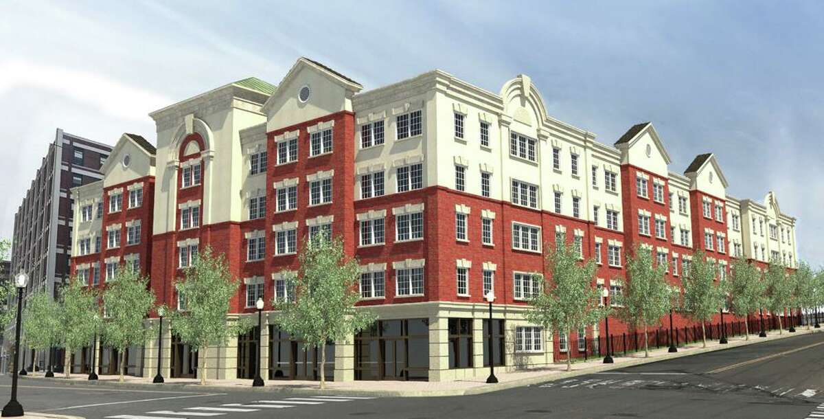 A rendering of the new, 92-unit housing development that Primrose Construction has proposed for downtown Bridgeport