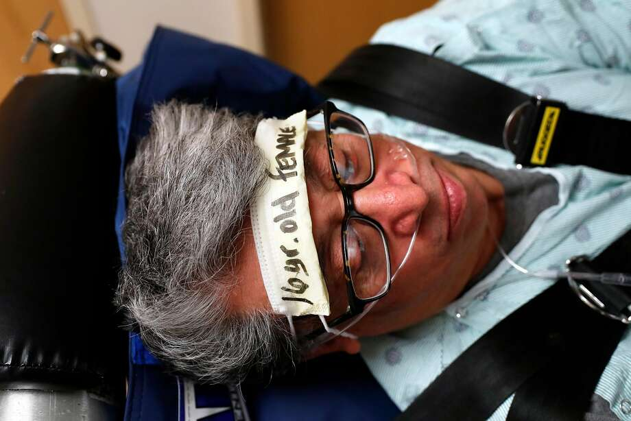 Steve Ray portrays a pregnant 16-year-old girl as the Sutter Health CPMC California campus practices moving patients in advance of the move to Van Ness. Photo: Scott Strazzante / The Chronicle