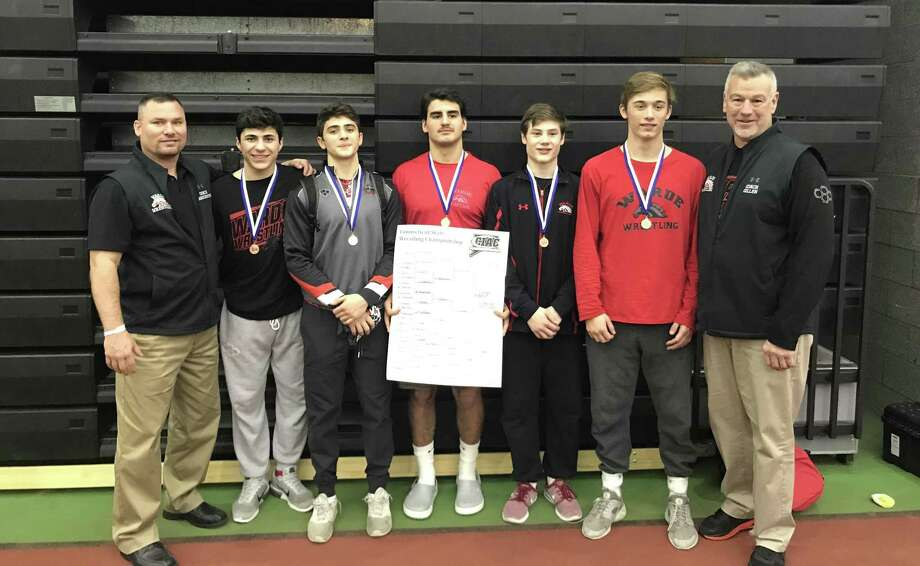 Fairfield Warde coaches and wrestlers pose after a successful showing at the CIAC Open on Saturday, Feb. 23, 2019. Photo: Contributed Photo / Contributed Photo / Stamford Advocate Contributed