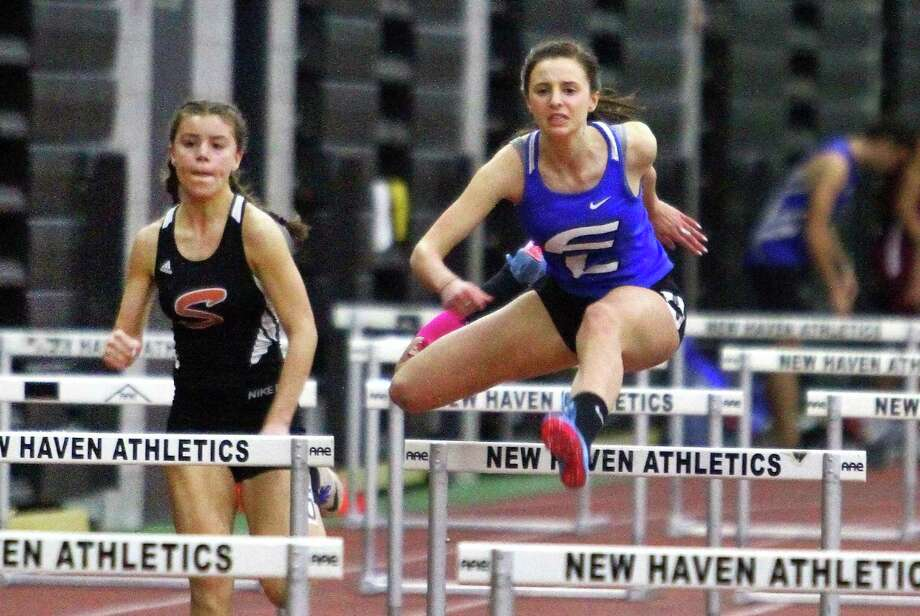 Ludlowe's Tess Stapleton competes in the 55 meter hurdles during CIAC Class LL Track Championship action in New Haven on Feb. 9. Photo: Christian Abraham / Hearst Connecticut Media / Connecticut Post