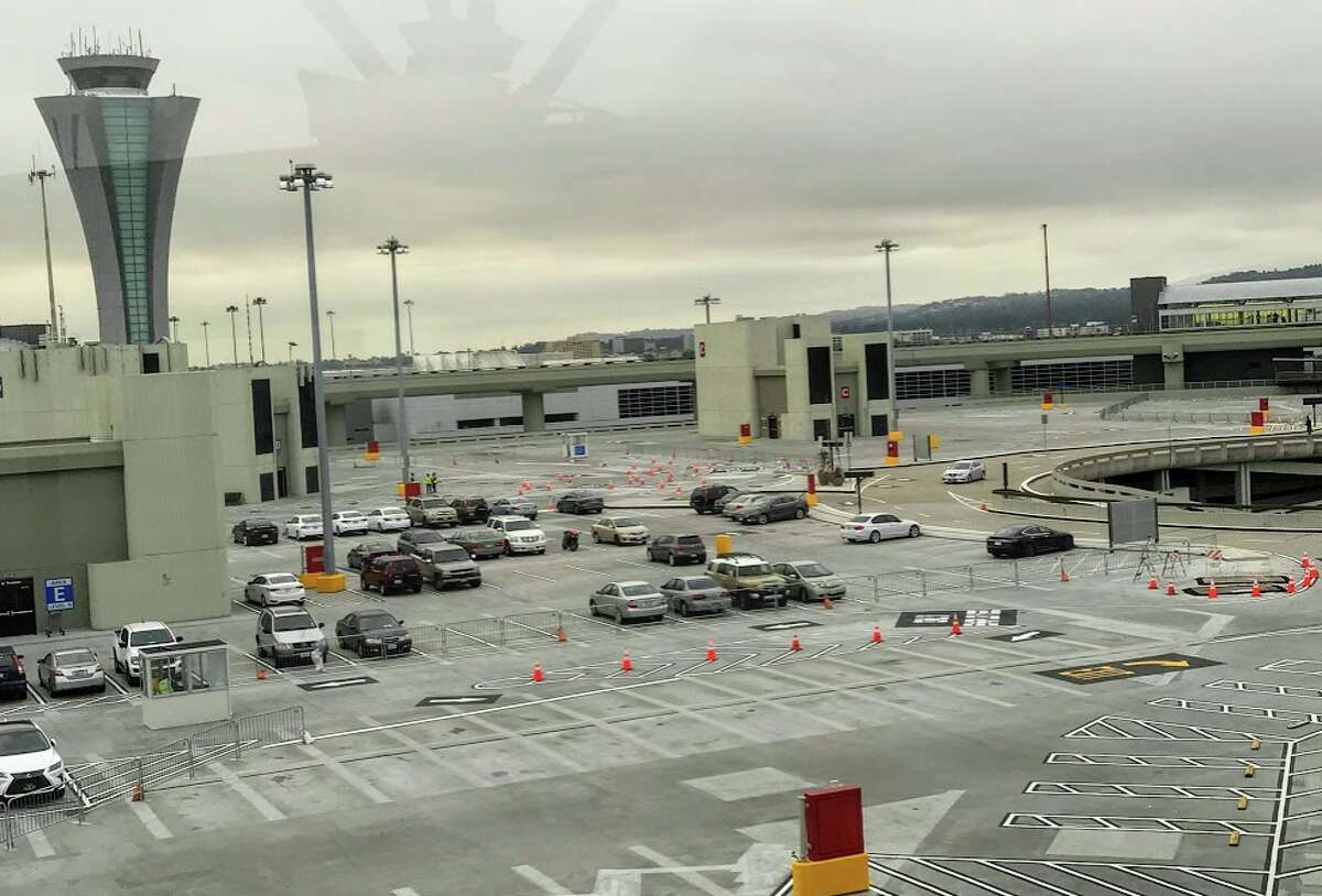 A slow day at the ridesharing lot on top of the central parking deck at SFO