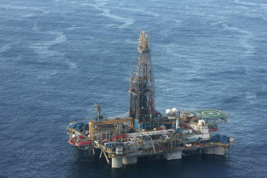 "(FILES) This file photo taken on November 21, 2011 and released by the Cypriot Press Information Office (PIO) shows the Noble's ""Homer Ferrington"" platform , where exploration drilling for hydrocarbons is taking place off Cyprus in the island's Exclusive Economic Zone (EEZ). - US energy giant ExxonMobil has discovered a huge natural gas reserve off the coast of Cyprus, Cypriot authorities said on February 28, 2019, a find that could raise tensions with nearby Turkey. (Photo by CHRISTOS AVRAAMIDES / PIO / AFP)CHRISTOS AVRAAMIDES/AFP/Getty Images Photo: CHRISTOS AVRAAMIDES,  Contributor / AFP/Getty Images / AFP"