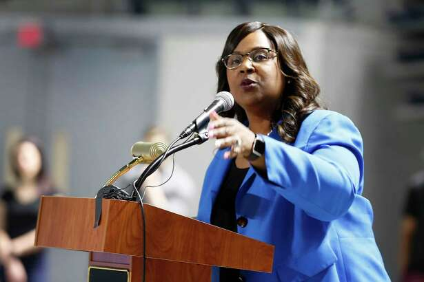In this February file photo, Houston ISD Interim Superintendent Grenita Lathan speaks during National Signing Day in Delmar Stadium.