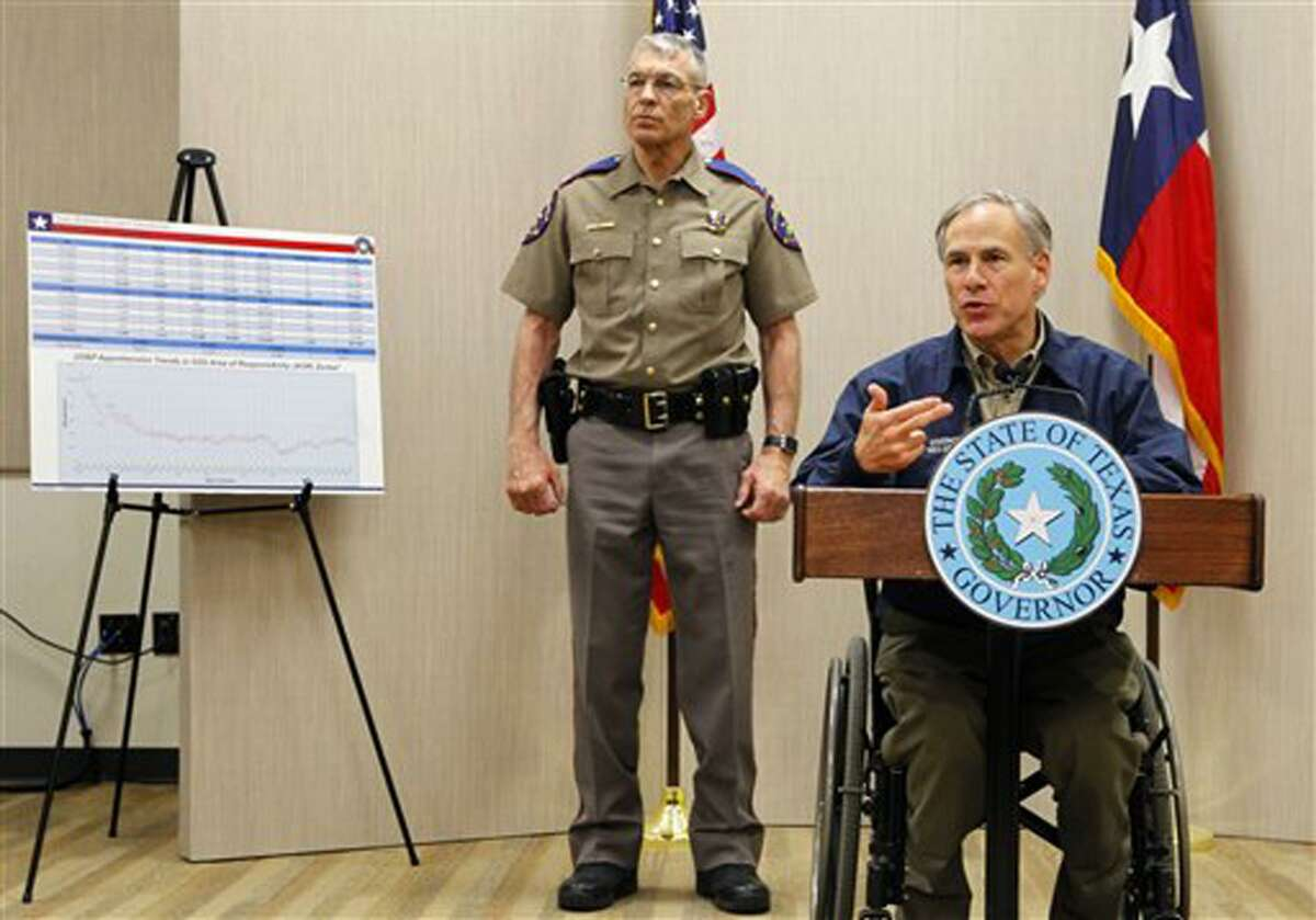 Texas Governor Greg Abbott speaks about security plans during a news conference in Weslaco, Texas. Standing behind the governor is Director of Public Safety Steve McCraw.