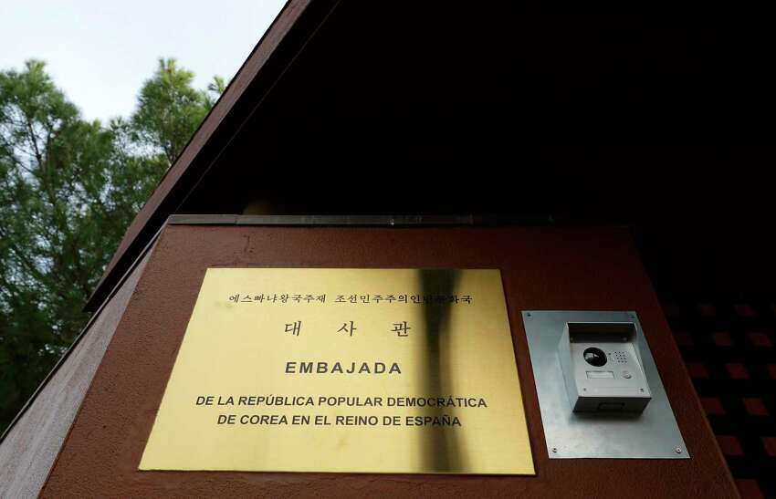 A view of North Korea's embassy in Madrid, Spain, Thursday, Feb. 28, 2019. Spanish authorities said police were investigating an incident last week at the North Korean Embassy in Madrid in which a woman was hurt and, according to a North Korean government's aide, computers and cellphones also were stolen. (AP Photo/Manu Fernandez)