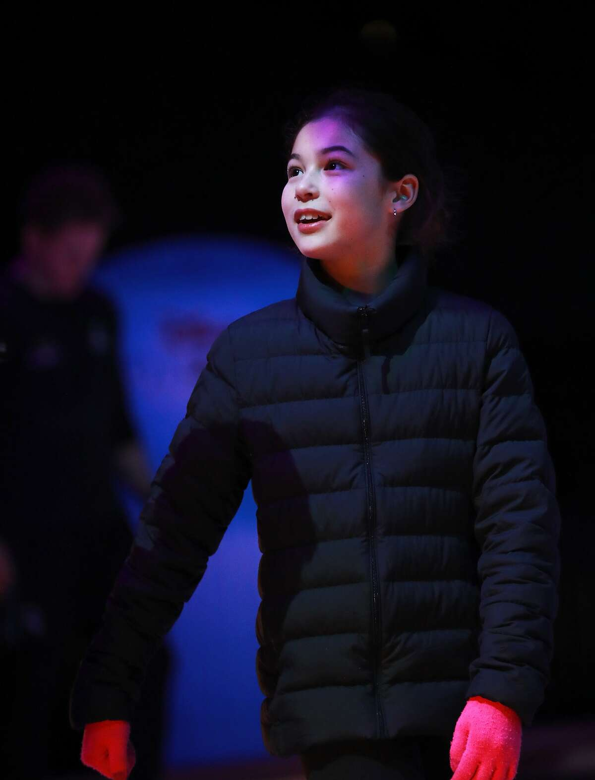 National ice skating champion Alysa Liu, 13, skates at Oracle Arena in Oakland Park, Calif., on Thursday, February 28, 2019.