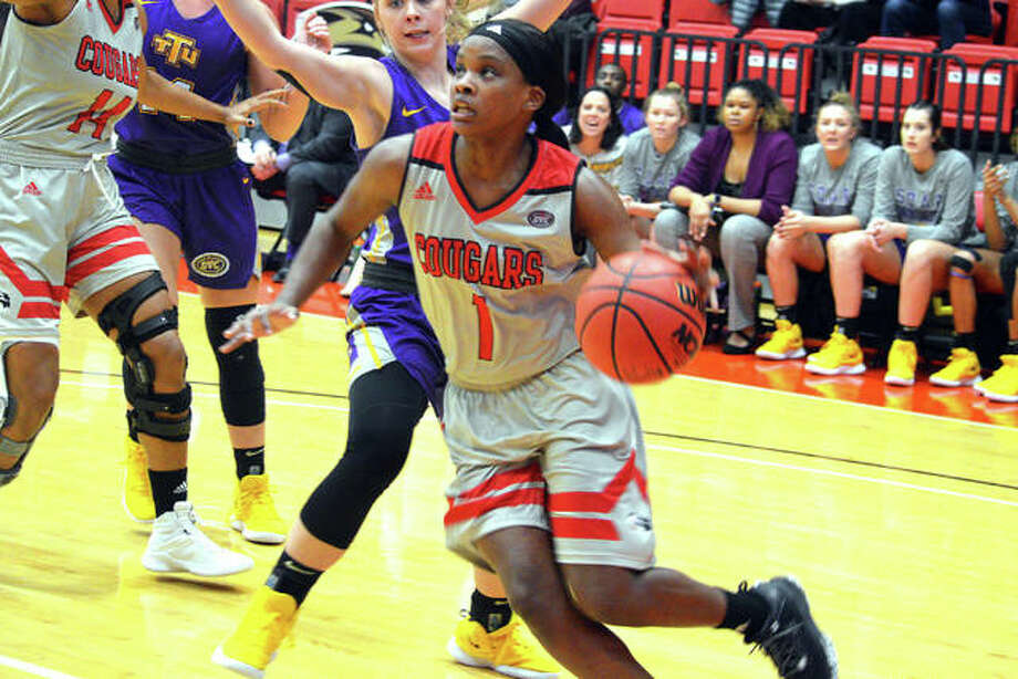 SIUE sophomore Christen King drives to the basket during the first quarter of Thursday's game against Tennessee Tech at Vadalabene Center. Photo: Scott Marion/Intelligencer