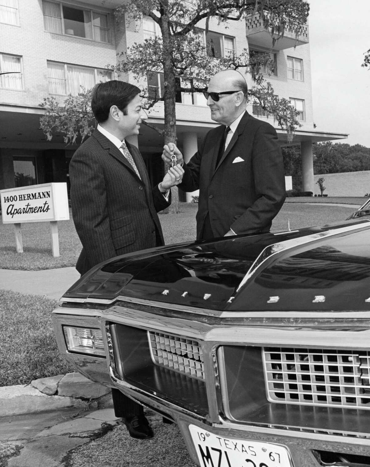From the Oct. 1967 Houston Post: Houston symphony conductor Andre Previn, left, is riding in style while he is in town. Al Parker Buick owner Al Parker is shown giving him the keys to a new auto for his use while he is here.