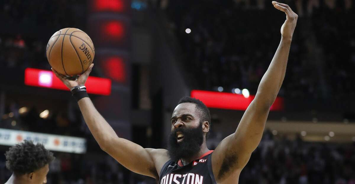 Houston Rockets guard James Harden (13) screams as he holds the ball after beating Miami Heat 121-118 during an NBA game at Toyota Center, Thursday, Feb. 28, 2019, in Houston.