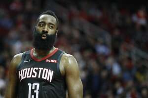 Houston Rockets guard James Harden (13) takes a breather during the second half of an NBA game at Toyota Center, Thursday, Feb. 28, 2019, in Houston.