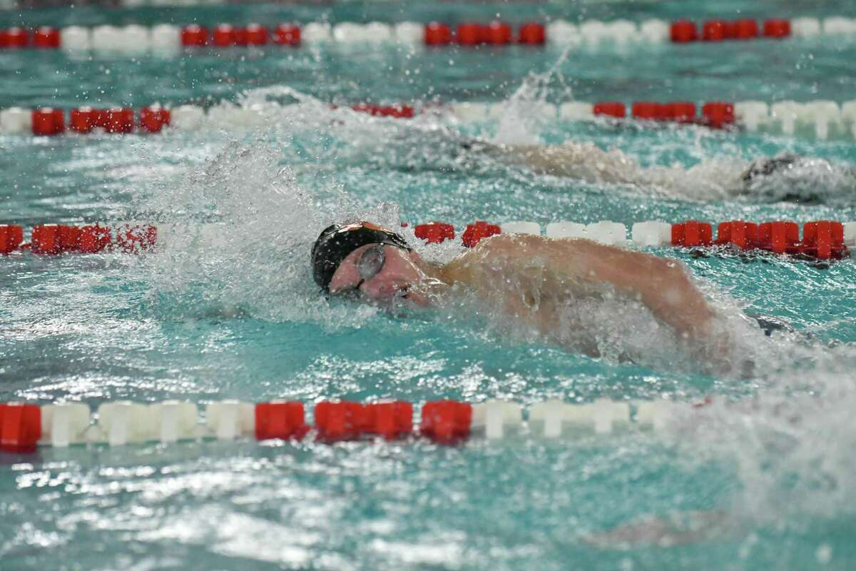 Connor Hunt of the Ridgefield Tigers wins the 200 freestyle during the FCIAC Swimming Championships held on Thursday February 28, 2019 at Greenwich High School in Greenwich, Connecticut.