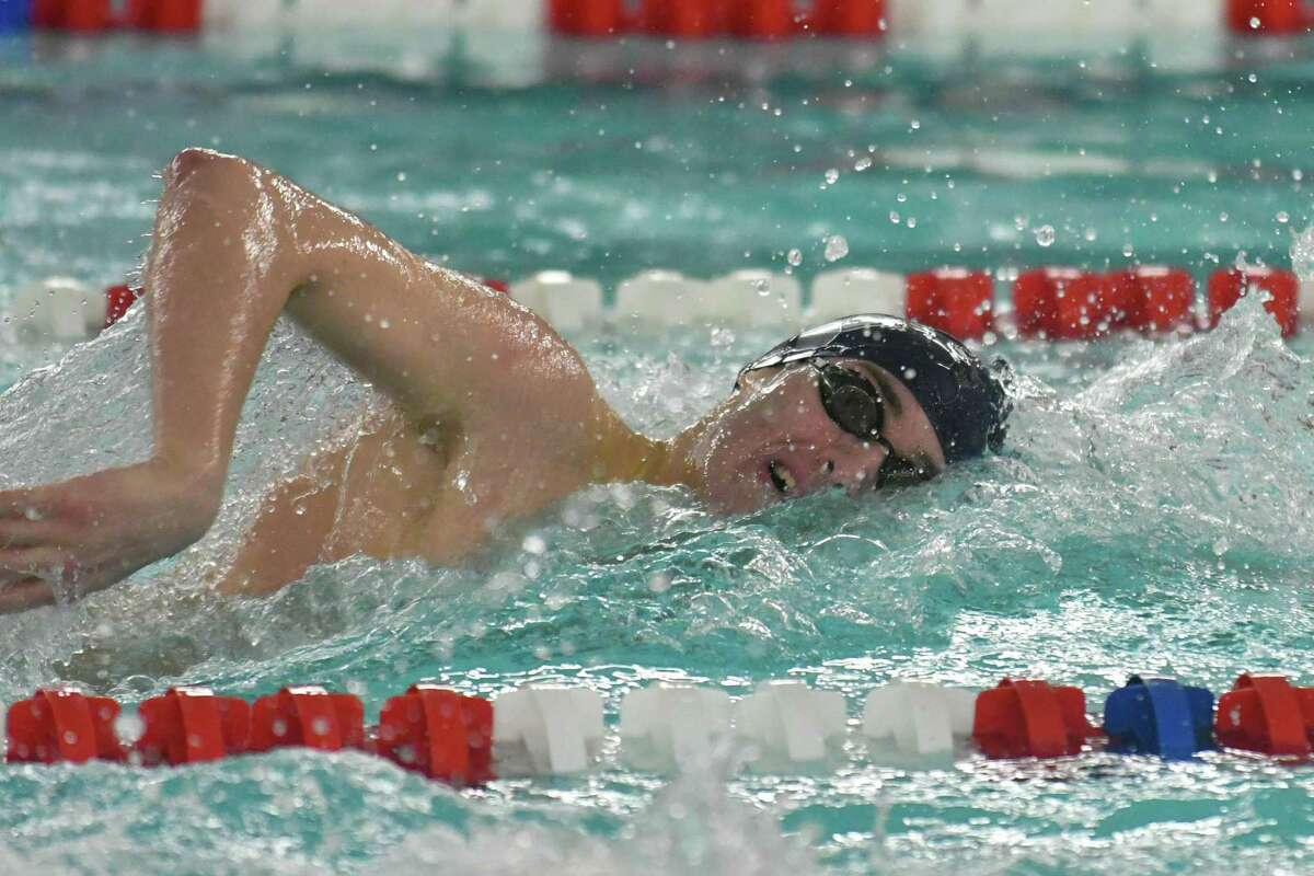 John McNab of the Staples swims to a second place finish in the 200 freestyle during the FCIAC Swimming Championships held on Thursday February 28, 2019 at Greenwich High School in Greenwich, Connecticut.