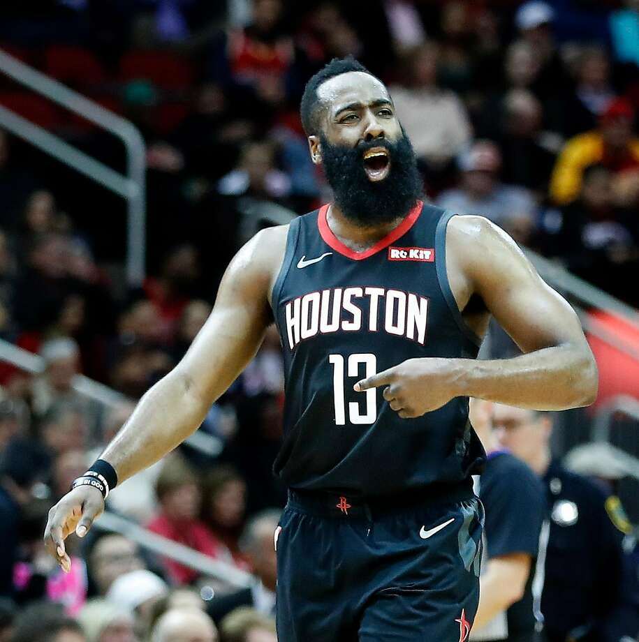 Houston Rockets guard James Harden (13) tries to get the crowd fired up during the second half of an NBA game at Toyota Center, Thursday, Feb. 28, 2019, in Houston. Photo: Karen Warren, Staff Photographer
