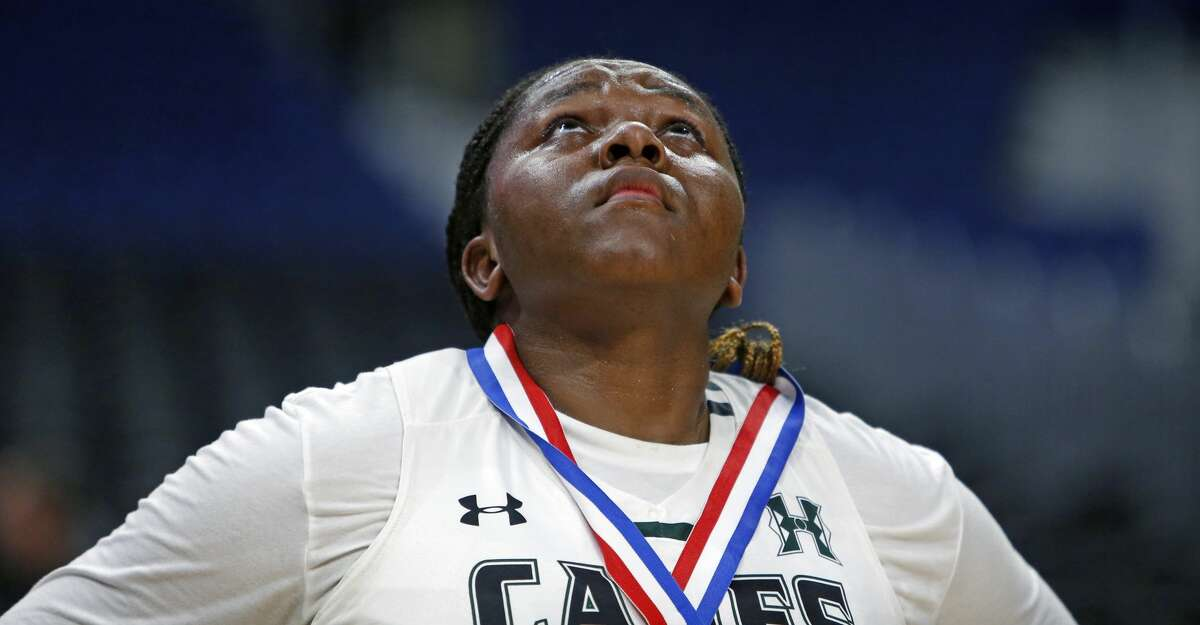 Fort Bend Hightowers'Winnie Kuimi fights back tears after their loss. Fort Bend Hightower v Amarillo . Thursday, February 28, 2019 at the Alamodome