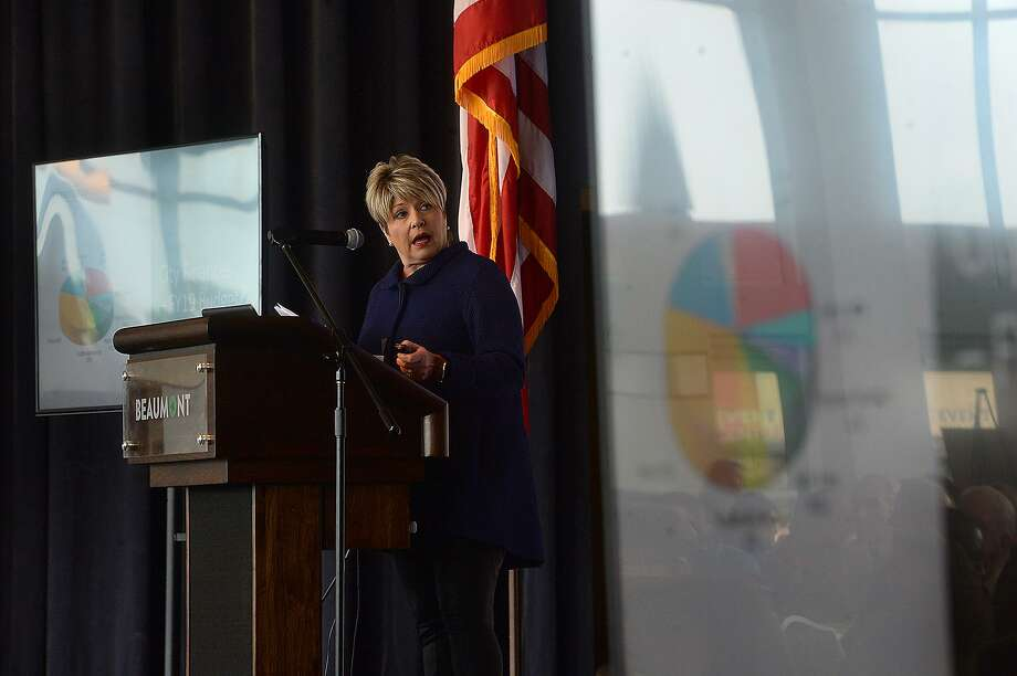 Mayor Becky Ames addresses the crowd at the Event Centre as she presents the annual State of the City, hosted by the Beaumont Chamber of Commerce Thursday. Photo taken Thursday, February 28, 2019 Kim Brent/The Enterprise Photo: Kim Brent / The Enterprise / BEN