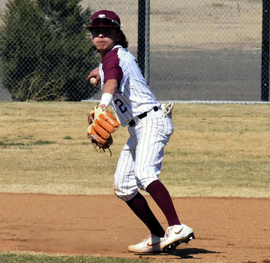 Tulia shortstop Brayden Franco rears back to throw to first base during the Hornets' tournament-opening game against the Lockney Longhorns on Thursday in Tulia. Franco scored three runs to help the Hornets to a 2-0 record on the day. Photo: Claudia Lusk/Plainview Herald