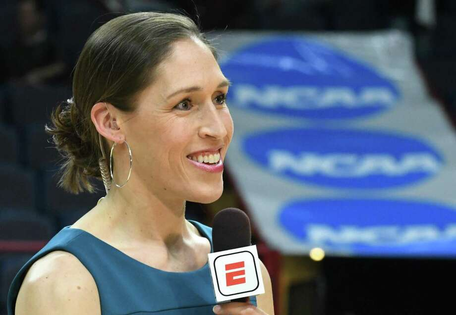 Television analyst and former WNBA player Rebecca Lobo is seen working at the NCAA Women's Basketball regional final between UConn and South Carolina at the Times Union Center on March 26, 2018 in Albany, N.Y. Photo: Lori Van Buren / Albany Times Union / 20043278A